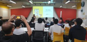 Miao is with students from  NUS High School of Mathematics & Science